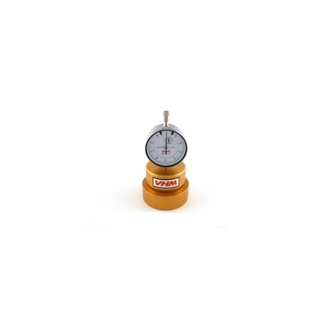 VHM piston height measuring tool with dial indicator.